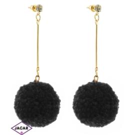 Kolczyki pompony - 7,5cm - k.czarny - EA583