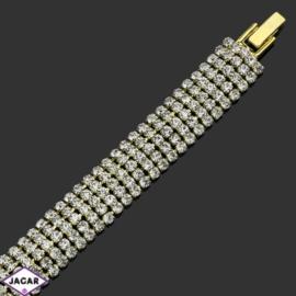 Bransoletka z kryształami(5)-dł:19cm BRA490 gold