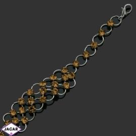 Bransoletka z kryształami -dł:21cm BRA560 amber