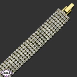 Bransoletka z kryształami(6)-dł:19cm BRA491 gold