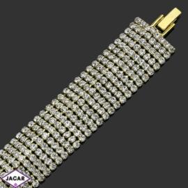 Bransoletka z kryształami(8)-dł:19cm BRA492 gold