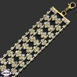 Bransoletka z kryształami -dł:26cm BRA509 gold