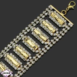 Bransoletka z kryształami -dł:24cm BRA511 gold