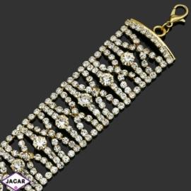 Bransoletka z kryształami -dł:25cm BRA512 gold
