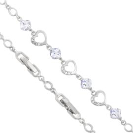 Bransoletka serca i kryształy - 20cm - BP1405