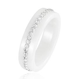 Pierścionek ceramiczny z Rzędem kryształów - PP860
