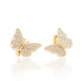 Butterfly - złocone klipsy - 1,3cm - EAP3407