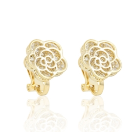Gold plated flowers clips - 1,3cm - EAP3413