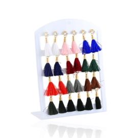 Kolczyki Chwosty Color Mix - paletka - 12szt EA651