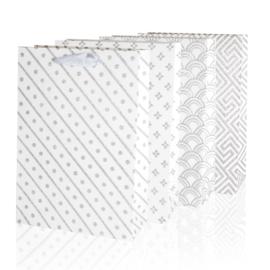 Torebki - białe z brokatem - 33x26cm 12szt TP257