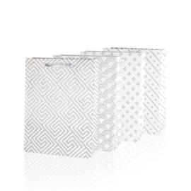 Torebki - białe z brokatem - 24x18cm 12szt TP258