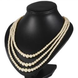 Naszyjnik perła 3-rzędowy Stopniowany 60cm PER348