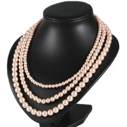 Naszyjnik perła - 3-rzędowy - 60cm PER365