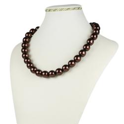 Naszyjnik perła brązowa błyszcząca - 45cm - PER383