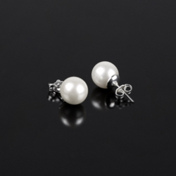 Kolczyki perła biała błyszcząca - PEK14