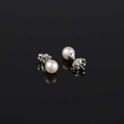Kolczyki perła pudrowy róż - PEK21