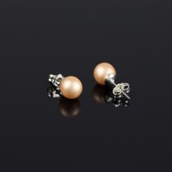 Kolczyki perła łososiowa błyszcząca - PEK23