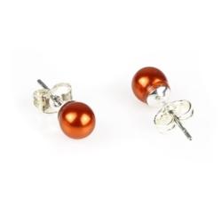 Kolczyki perła pomarańczowa błyszcząca - PEK24
