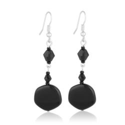 Kolczyki perła czarna błyszcząca 6,5cm - PEK54