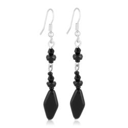 Kolczyki perła czarna błyszcząca 6,5cm - PEK61