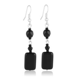 Kolczyki perła czarna błyszcząca 6,5cm - PEK63