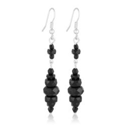 Kolczyki perła czarna błyszcząca 6,5cm - PEK70