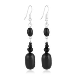 Kolczyki perła czarna błyszcząca 6,5cm - PEK74