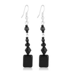 Kolczyki perła czarna błyszcząca 7,5cm - PEK77