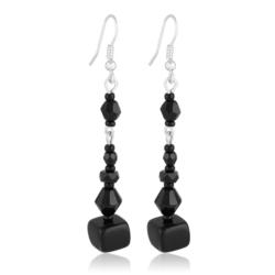 Kolczyki perła czarna błyszcząca 6,5cm - PEK80