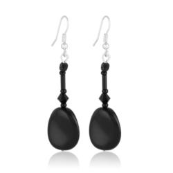 Kolczyki perła czarna błyszcząca 6cm - PEK86