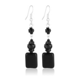 Kolczyki perła czarna błyszcząca 6cm - PEK92