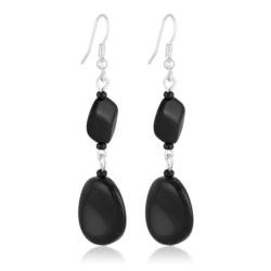 Kolczyki perła czarna błyszcząca 6,5cm - PEK97