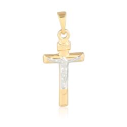 Medalik pozłacany - Krzyżyk z Jezusem 3cm PRZ1313