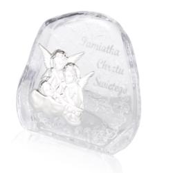 Przycisk Szklany Pamiątka Chrztu 11,5x11,5cm PS11