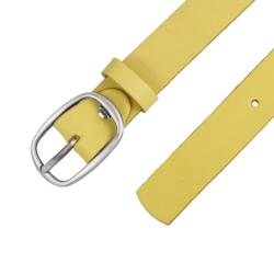 Pasek skórzany damski - Żółty - 3x80cm - BL35