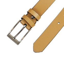 Pasek skórzany damski - Beżowy - 3x105cm - BL56