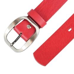 Pasek skórzany damski - Czerwony - 4x85cm BL67