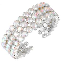 Trzyrzędowa bransoletka z kryształami AB - BRA676