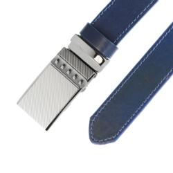 Pasek skórzany męski - Granatowy 3x100cm - BLM141