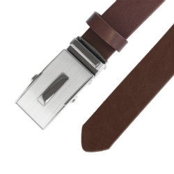 Pasek skórzany męski - Brązowy 3x105cm - BLM150