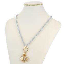 Naszyjnik z koralikami i złotymi zawieszkami NA943
