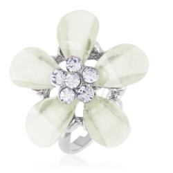 Pierścionek z regulacją biały kwiat - PIER35