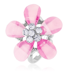 Pierścionek z regulacją różowy kwiat - PIER36