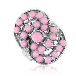 Pierścionek z regulacją różowe kamyki - PIER37