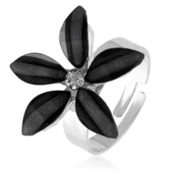 Pierścionek z regulacją czarny kwiatuszek PIER51