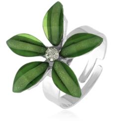 Pierścionek z regulacją zielony kwiatuszek PIER52