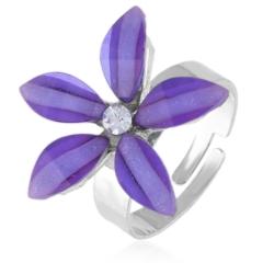 Pierścionek regulacja fioletowy kwiatuszek PIER53