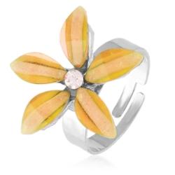 Pierścionek regulacja pomarańczowy kwiat PIER54