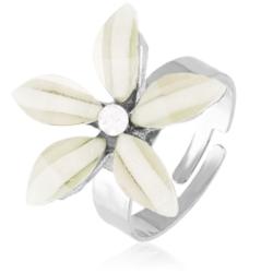 Pierścionek z regulacją biały kwiatuszek PIER55