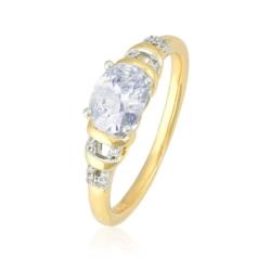 Pierścionek pozłacany wielki kryształ - PP1439